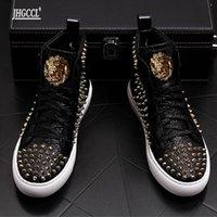 Luxury rivet Boots Men's shoes designer sneakers men punk high tops gold red light bottom Casual Platform shoe zapatillas hombre A7