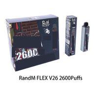 Original Qst Randm Flex Dispositivo Dispositivo Kit 2600 Puffs 1000mAh Bateria Personalizada 8,5ml Vape Vape Vape Vapor Pen Bar Mais 100% AI AI