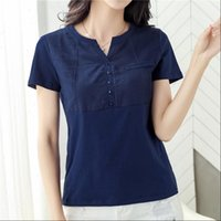 Women Shirts Womens Blouse Short Sleeve V Neck Slim Lady Top...