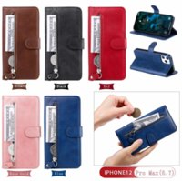 Zipper Leather Wallet Cases For Iphone 13 2021 iphone13 12 11 Pro Max XR XS MAX X 8 7 6 Coin ID Cash Slot Holder Magnetic Phone Flip Cover Men Pouch Purse Lanyard