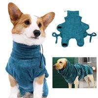 Dog Bathrobe Super Absorbent Dog Bathing Suit for Small Medium Large Dogs Quick-Drying Pet Bath Towel Warm Dog Clothing Corgi 210430