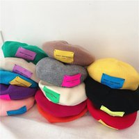 Caps & Hats 2021 Kids Woolen Hat Baby Toddler Letter Patterns Knitted Beanie Beret Warm Bucket For Autumn Winter 2-8 Years