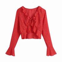 Yeni Zarif Kadın V Yaka Polka Dot Gömlek 2021 Moda Bayanlar Kırmızı İpli Kısa Üstleri Seksi Kadın Tatlı Chic Ruffles Bluzlar 4MQL