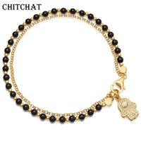 Bonne chance Charme Main de Bracelets Fatima Bow et arrow MultiLouche Perles de perles à la main Protection BFF Bijoux pour Femme Cadeau perlé, Strands