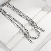 Unisex Punk Stainless Steel Pendant Necklace For Men Women Curb Cuban Link Chain Chokers Vintage Silver Color Tone Solid Chains