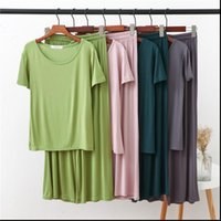 2 Piece Set Modal Women Sleepwear Homewear Solid Color Loose Pajamas Short Sleeve T Shirt and Pants Autumn Home Clothes