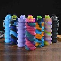 Erwachsene und Kinder Kreative Tarnung Wasserflasche Silikon Falten Retractable Sports Drink Cup Tragbare praktische Campinggeräte 500m