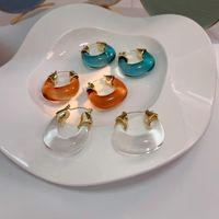 Hoop & Huggie French Retro Hong Kong Style Resin Earrings 2021 Trendy Summer Temperament Niche Design Ear Jewelry For Woman Female Dangler