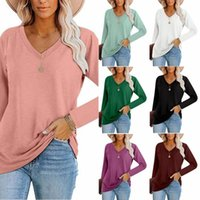 Women's T-Shirt Loose T-shirts Women Jumpers Long Sleeve V-neck Tops Woman Pullover Female Fashion Sale Sexy Solid Cloth Undershit AC1063