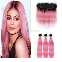 Розовые омбре кружева фронтальные с пучками 1b розовые прямые наращивание волос с кружевом лобной двумя тонами перуанской девственницы человеческих волос