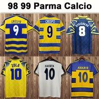 1998 1999 2000 Parme Calcio Mens Soccer Jerseys Crespo Cannavaro Baggio Asprilla Home Jaune Blue Football Chemise Sleeve Sleeve Uniformes adultes