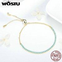 Ссылка, цепь WOSTU модный 925 Стерлинговые серебряные браслеты для женщин Синяя память циркона ссылка свадебные украшения FIB118