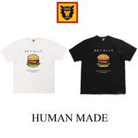Печать 2021SS Новый гусеничный с коротким рукавом Футболка с коротким рукавом Гамбургер Узор Мужская и женская Летняя одежда Слубби хлопчатобумажная половина рукава