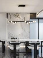 Black Restaurant Led Chandelier Lighting Nordic Minimalist Art Long Modern Dining Table Bar Office Decorative Lights Pendant Lamps