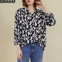 Dimanaf 2020 плюс размер женщин блузки рубашка женщина леди шоу тонкий шифон леопардовый принт элегантный базовый с длинным рукавом женская одежда