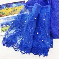 Rolled grass pearl lace flower cotton hemp scarf women's sunscreen shawl beach towel Muslim headscarf