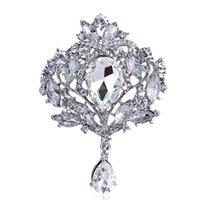 Estilo vintage Big Water Drop Brooches para mujer Joyería Colorido Flor Broche Pin Rhinestone Crystal Broach Body Broche C3