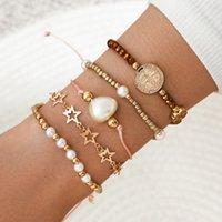 Joyería de mano creativa moneda cruz cinco puntas estrella imitación perla geométrica pulsera trenzado 5 piezas