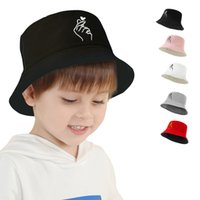 Free DHL Children Accessories Kids Fisherman Cap Girls Boys Solid Color Embroidery Foldable Sun Hats Summer Sunscreen Beach Caps Baby Soft Visor Bucket Hat