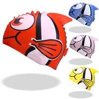 الكرتون قبعة السباحة الأطفال للماء الحيوان السمك طباعة الاطفال السباحة قبعات سيليكون السباحة قبعة 1001 Z2