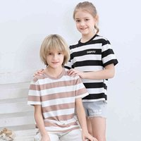 Fashion Clothes For Kids Big Boys Girls Children T-shirts Striped Tees Breathable Tops Summer Cotton Modal Tee Casual Sports 210514