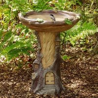 Craft Tools Tree House Polyresin Bird Bath Brown Pedestal Handmade Gifts For Outdoor Home Garden Lawn Yard Decorations