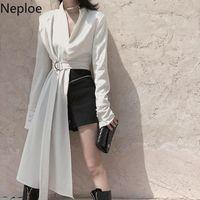 NAPOE 2021 HARAJUKU Ceket Kadın Kore Moda Düzensiz Üstleri V Yaka Uzun Kollu Ince Bel Blazer Mizaç Ceket Kadın Bayan Ceketler