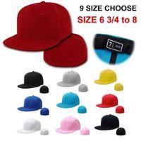 장착 된 모자 모자 새로운 9 크기 맞는 트럭 요크 폐쇄 망 빌 힙합 일반 야구 스냅 백 빈 단단한 바이저 브림 ERA Q0703