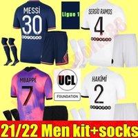 Maillots Futbol 2021 2022 Paris Futbol Formaları 21 22 PSG Messi Sergio Ramos Mbappe Icardi Neymar Gömlek JR Verratti Marquinhos Yetişkin Erkekler Kiti Setleri Maillot De Ayak