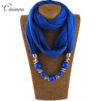 Pendentif Colliers 2021 Châle de foulard ethnique simple et élégant pour les femmes longues perles Collier Bijoux Accessoires
