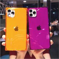 Quadrado Fluorescente cor de choque à prova de choque casos de telefone móvel macio tampa de shell claro para iphone 12 mini 7 8 6 mais 11 pro xr x xs max transparentes celulares completas