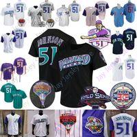 Randy Johnson Jersey Baseball 2001 WS Vintage 1999 Retour Retour 2015 Temple de la renommée Tache de retraite Blanc Pinstriple Pullover bleu violet bleu