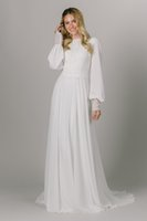 2021 A-line Lace Chiffon Boho Modest Bridal Gowns Wedding Dress Long Sleeves Summer Elegant LDS Beach Bride Robes