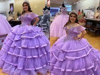 2022 Pretty Lavender Layered Puffy Skirt Quinceanera Dresses Ball Gown Off Shoulder Plus size Crystal Rhinestones XV Vestido de Sweet 15 Prom Evening Dress