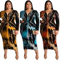 디자이너 스타일 2021 가을 겨울 드레스 넥타이 염료 인쇄 V 넥 꽉 섹시한 긴 여성 플러스 사이즈 여성 의류
