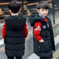 New Winter Kids Vest Girls Boys Waistcoat Warm Hooded Coat Teens Sleeveless Jacket Cotton Baby Girls Clothes Casual Outwear 201127