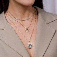 Anhänger Halsketten Minar Mode Natürliche Abalone Shell Für Frauen 2021 Gold Farbe verknüpft Kleine Kreiskette Perle Münze Chokers Halskette