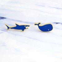 Blue Shark Balena Spille Pins Smalto Animale Risvolto Pin Pin Top Borsa Corsage Gioielli di moda Volontà e sabbioso