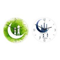 Wall Clocks 2PCS Acrylic Muslim Clock Living Room Mute Electronic Frameless Ramadan Decorations, Green & White+Blue
