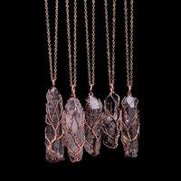 Collier de quartz cristal arc-en-ciel pour femmes pierres naturelles Prisme hexagonal Point de guérison Point de vie Arbre Chakra Pendulum Bijoux 1153 T2