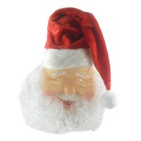Christmas Decorations 2021 Merry Santa Claus Costume Latex Mask Outdoor Cute Masquerade Wig Beard Dress Up Party Cosplay