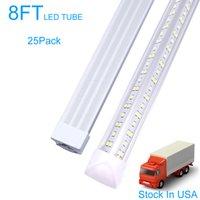 8ft LED-butikslampa, v Form T8 Integrerad 8 fotrörljus, 6500k Kallvit, Hög utgång 144W Tubes Ljus, Dubbelsidig för Garage, Lager, Klart skydd