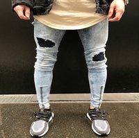 Erkek Kot Diz Katlama Delik Fermuar Tasarım Elastik Yıkanmış Retro Yüksek Sokak Moda Denim Pantolon Yırtık Sıkıntılı Motosiklet Pantolon