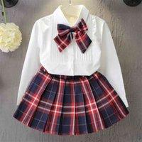 KeiLorn Girls 클래식 의류 세트 봄 긴 소매 아이 공주 탑 및 스커트 디자인 2pcs 정장 학교 유니폼 옷 210911