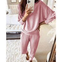 Autumn Ribbed Loose Long-sleeved Top and Trousers 2 Piece Set Solid Color Casual Suit Two Piece Outfits for Women