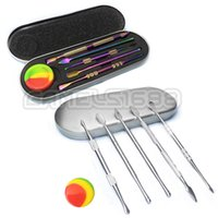 6pcs Wax Carving Dabber Tools Kit Smoking Accessories Nectar Collector Dab Tool with Silicone Jar Container Metal Alloy Box Packaging For Dry Herb Glass Water Bong