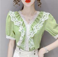 Women's Blouses & Shirts Lace Chiffon Summer Club Female V Neck Ruffles Sweet Tops Short Sleeve Fashion Top Elegant OL Lady