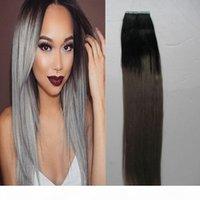 40 قطعة شريط أومبير في الشعر ملحقات الإنسان ريمي الشعر ملحقات # 1B يتلاشى إلى الرماد الرمادي شقراء الغراء على الشعر