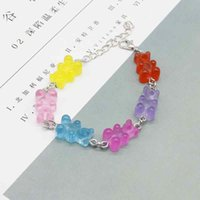 Cute candy-colored cartoon bear pendant bracelet, unisex, party gift, daily jewelry