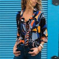 Nuove donne Chiffon Bluses Manica lunga Doppia Giro giù Camicia da ufficio Camicia Geometrica Stampa camicetta Allentato Casual Tops Plus Size Chemise femme